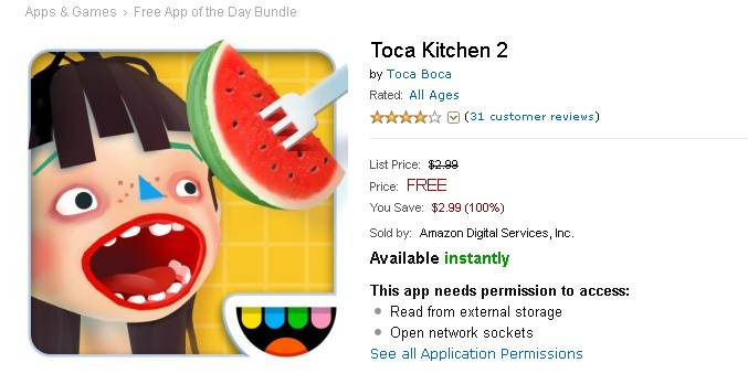 Free Android Game Toca Kitchen 2 at Amazon