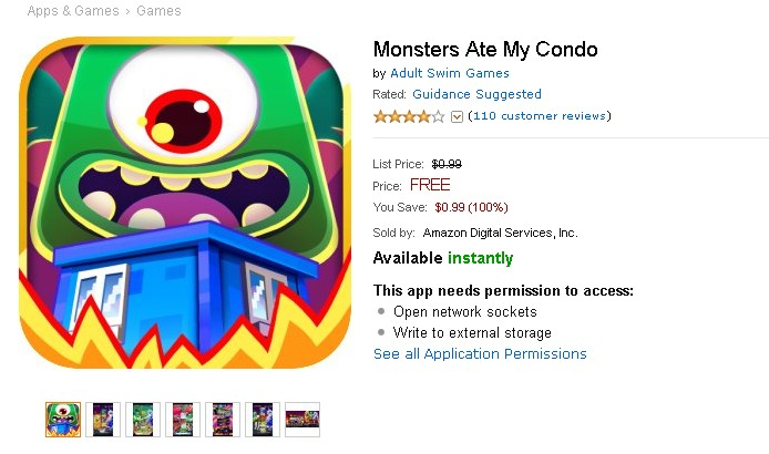 Free Android Game at Amazon Monsters Ate My Condo