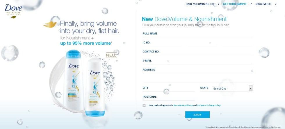 Free New Volume & Nourishment Shampoo at Dove Malaysia 2