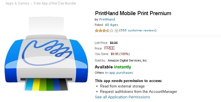 Free PrintHand Mobile Print Premium at Amazon Appstore