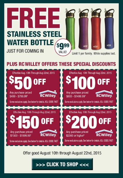 Free Stainless Steel Water Bottle at RC Willey USA