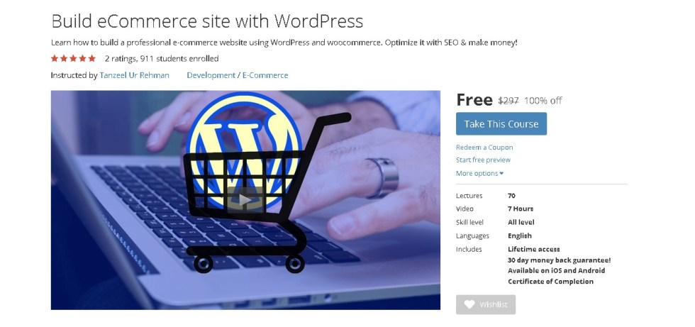Free Udemy Course on Build eCommerce site with WordPress 1