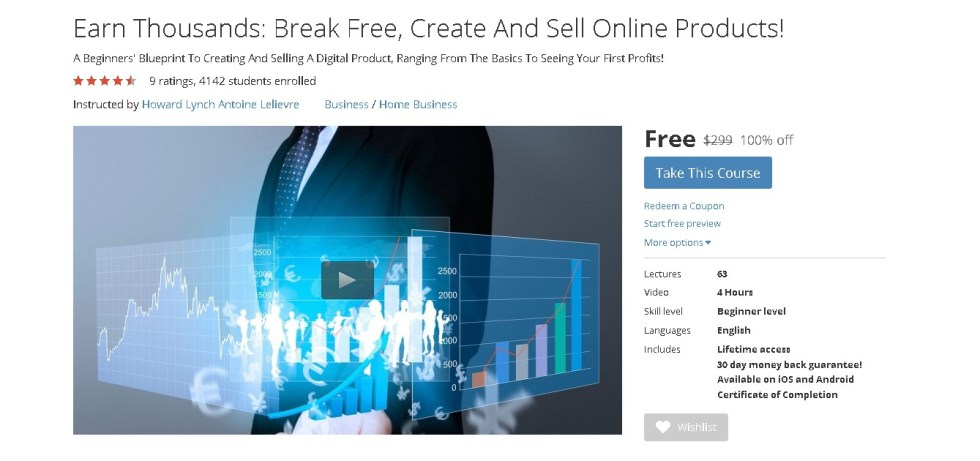 Free Udemy Course on Earn Thousands Break Free, Create And Sell Online Products!