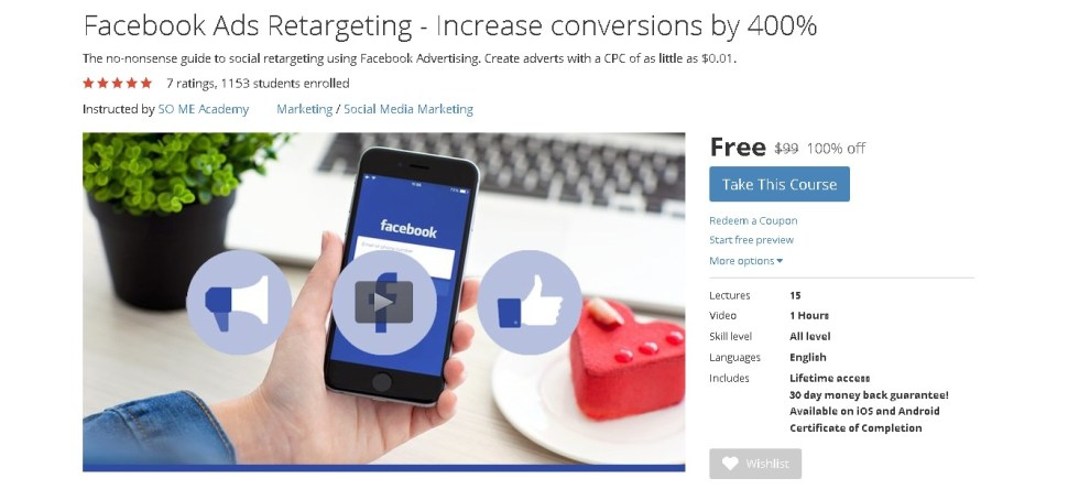 Free Udemy Course on Facebook Ads Retargeting - Increase conversions by 400% 1