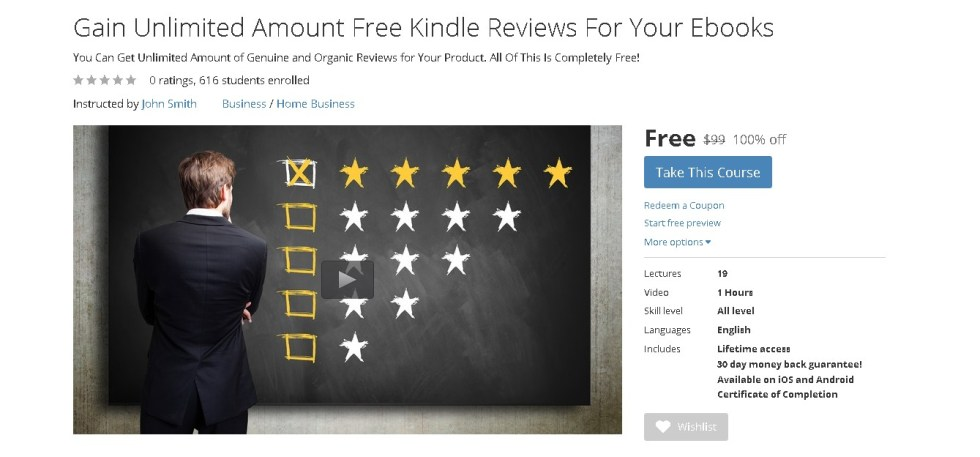 Free Udemy Course on Gain Unlimited Amount Free Kindle Reviews For Your Ebooks 1