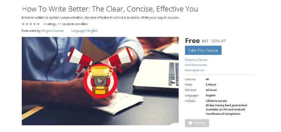 Free Udemy Course on How To Write Better The Clear, Concise, Effective You