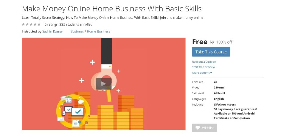 Free Udemy Course on Make Money Online Home Business With Basic Skills