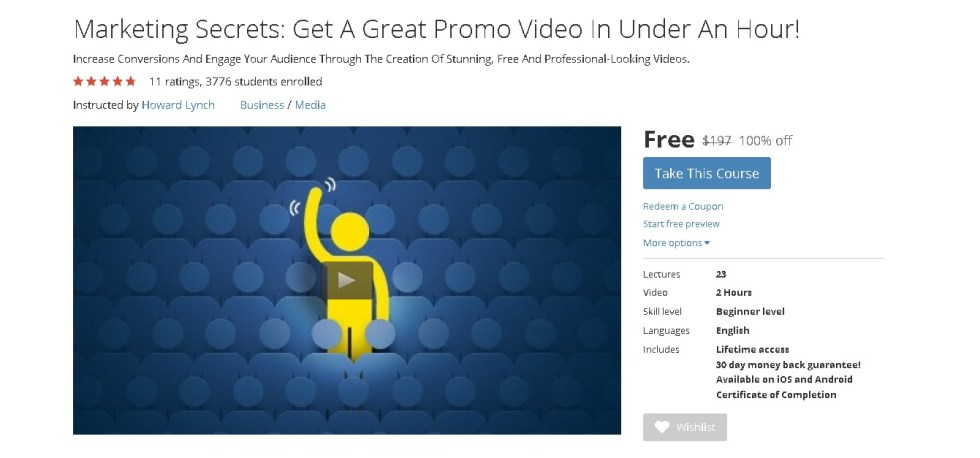 Free Udemy Course on Marketing Secrets Get A Great Promo Video In Under An Hour!