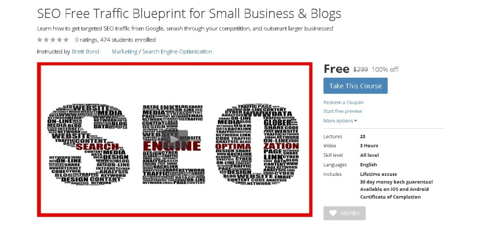 Free Udemy Course on SEO Free Traffic Blueprint for Small Business & Blogs