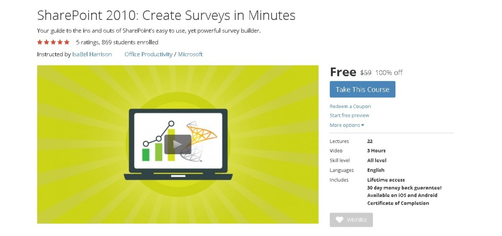 Free Udemy Course on SharePoint 2010 Create Surveys in Minutes