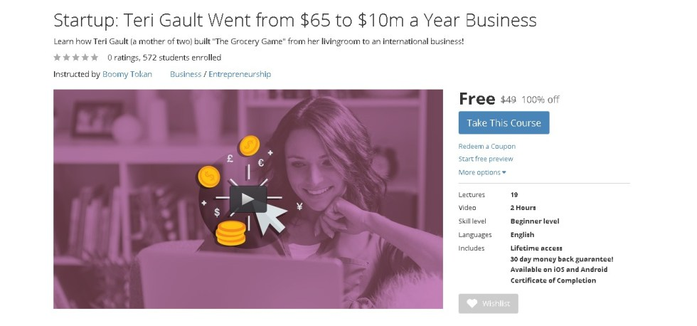 Free Udemy Course on Startup Teri Gault Went from $65 to $10m a Year Business