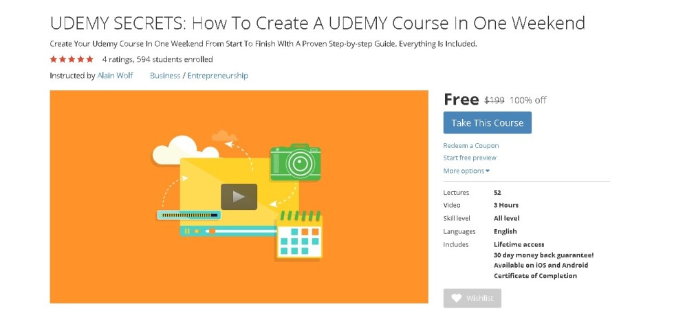 Free Udemy Course on UDEMY SECRETS How To Create A UDEMY Course In One Weekend