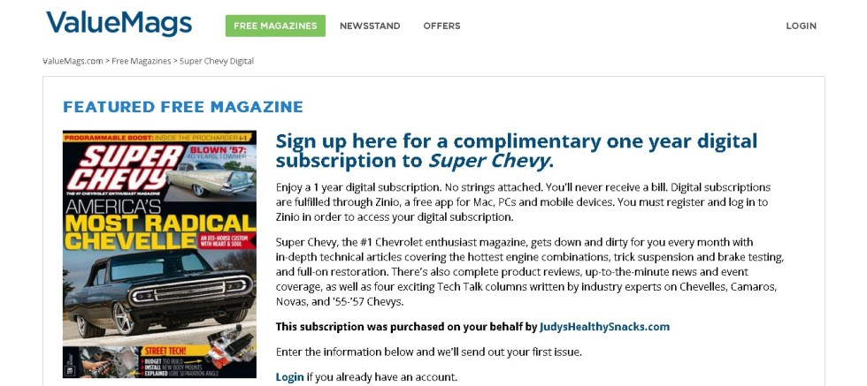 Free one year digital subscription to Super Chevy Magazine