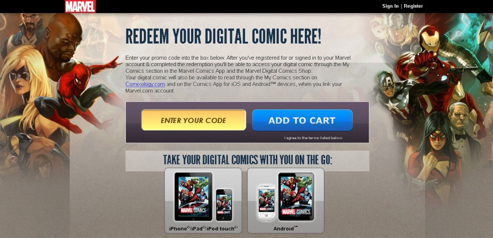 Redeem your digital Marvel Comic here 1