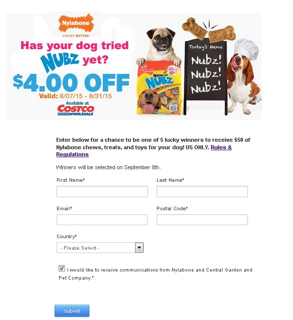 WIN $50 of Nylabone chews, treats, and toys for your dog FORM