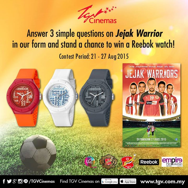 WIN Reebok Watch at TGVCinemas Malaysia Jejak Warrior Giveaway