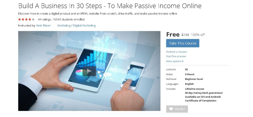 FREE Udemy Course Build A Business In 30 Steps - To Make Passive Income Online