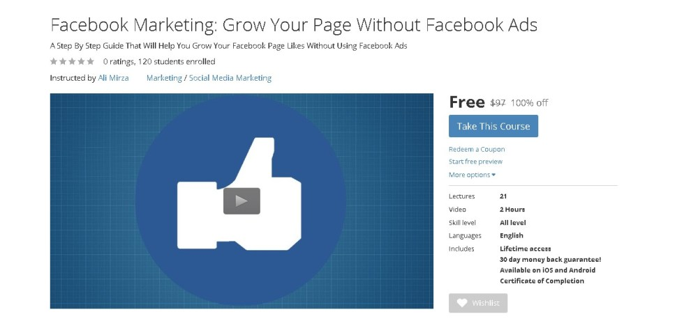 FREE Udemy Course Facebook Marketing Grow Your Page Without Facebook Ads