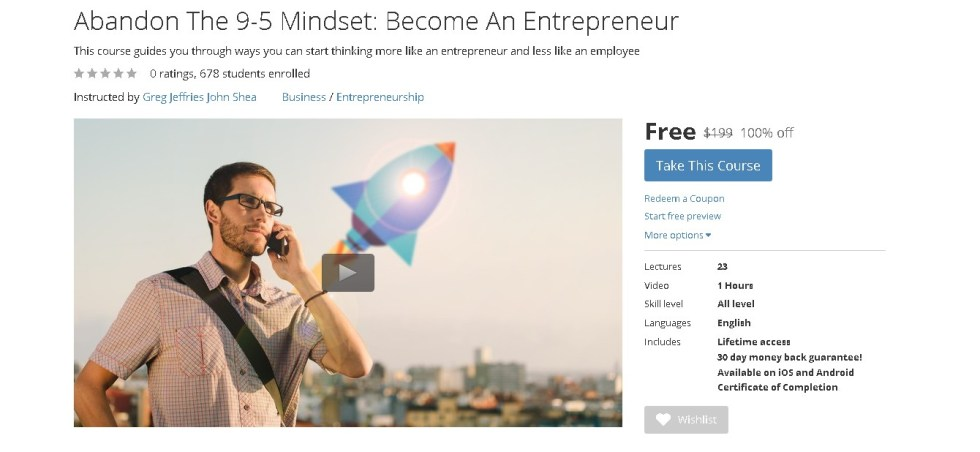 FREE Udemy Course on Abandon The 9-5 Mindset Become An Entrepreneur  (2)