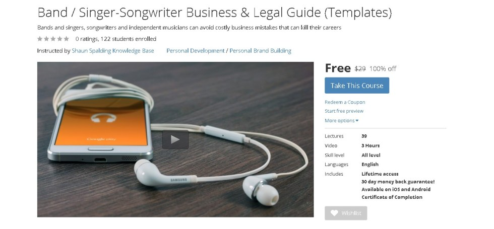 FREE Udemy Course on Band  Singer-Songwriter Business & Legal Guide (Templates)