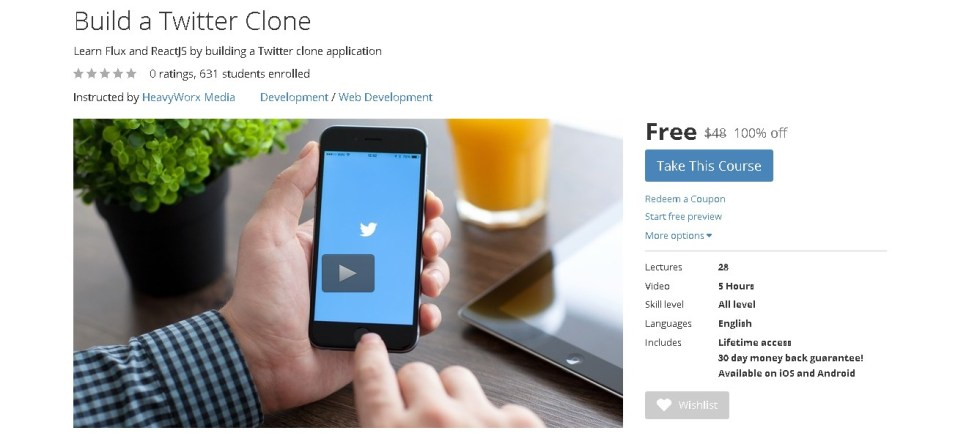 FREE Udemy Course on Build a Twitter Clone