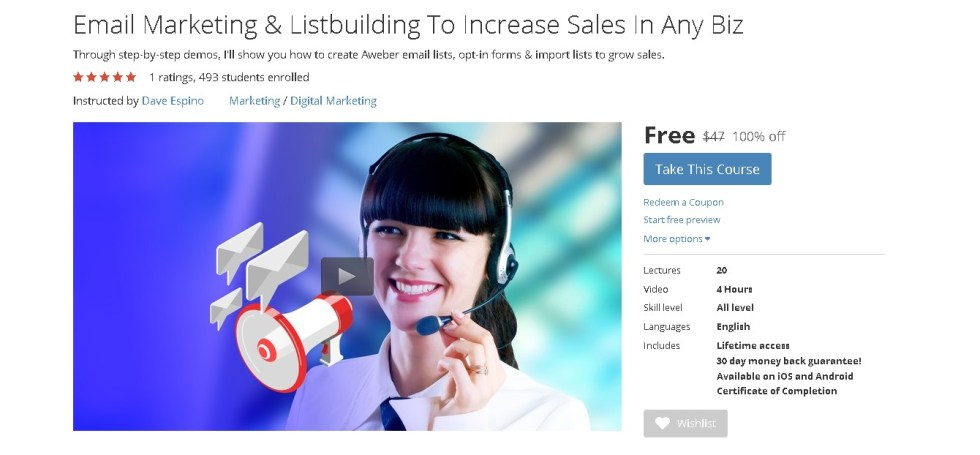 FREE Udemy Course on Email Marketing & Listbuilding To Increase Sales In Any Biz