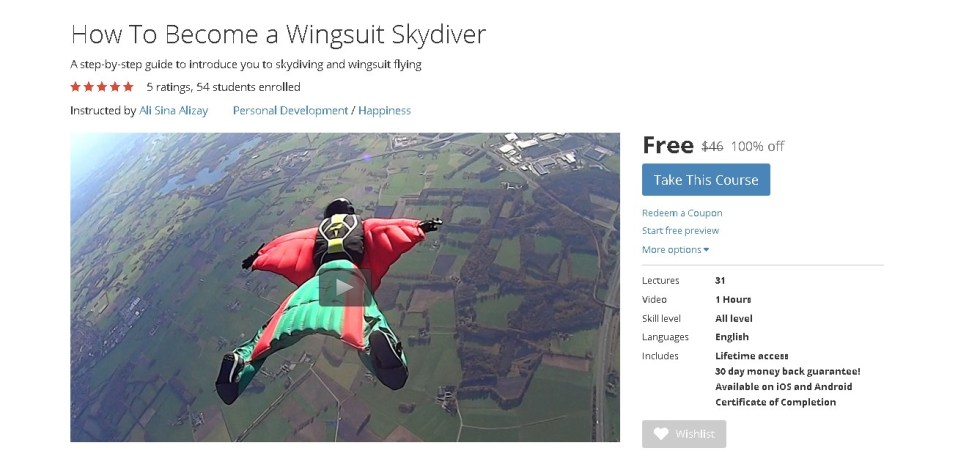 FREE Udemy Course on How To Become a Wingsuit Skydiver