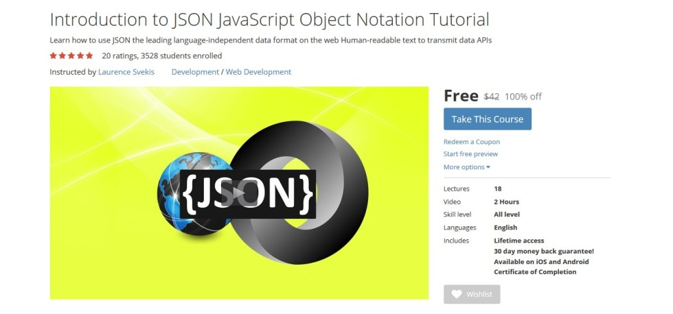 FREE Udemy Course on Introduction to JSON JavaScript Object Notation Tutorial