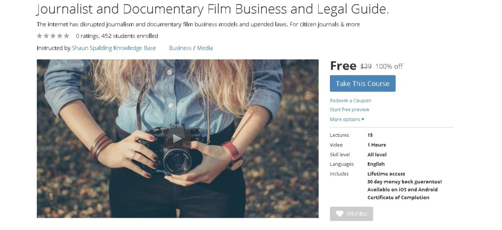 FREE Udemy Course on Journalist and Documentary Film Business and Legal Guide