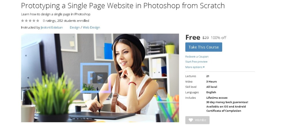 FREE Udemy Course on Prototyping a Single Page Website in Photoshop from Scratch