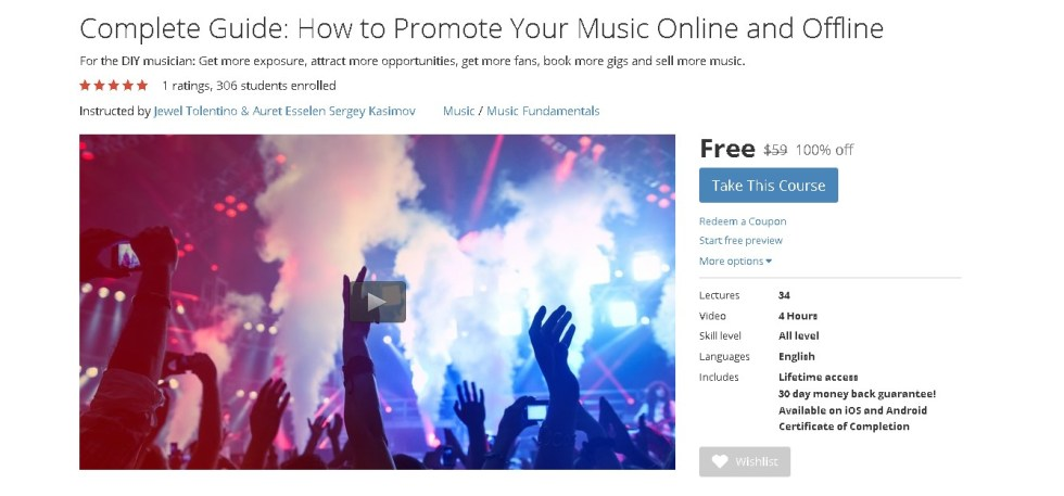 Free Udemy Course on Complete Guide How to Promote Your Music Online and Offline 1