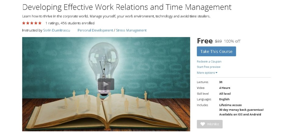 Free Udemy Course on Developing Effective Work Relations and Time Management