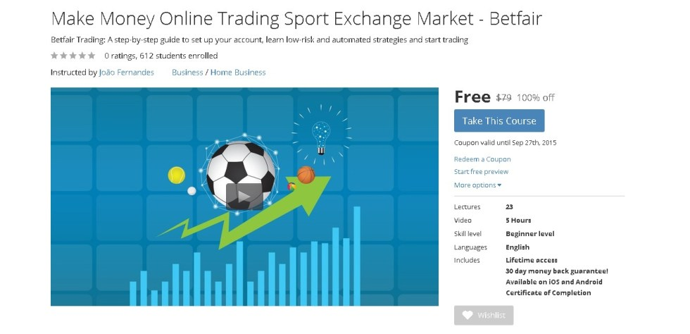 Free Udemy Course on Make Money Online Trading Sport Exchange Market - Betfair