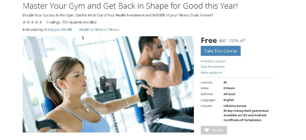 Free Udemy Course on Master Your Gym and Get Back in Shape for Good this Year!