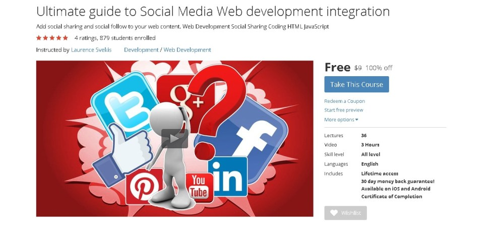 Free Udemy Course on Ultimate guide to Social Media Web development integration