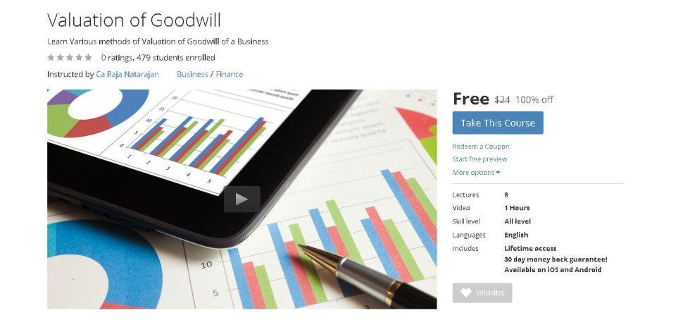 Free Udemy Course on Valuation of Goodwill 1