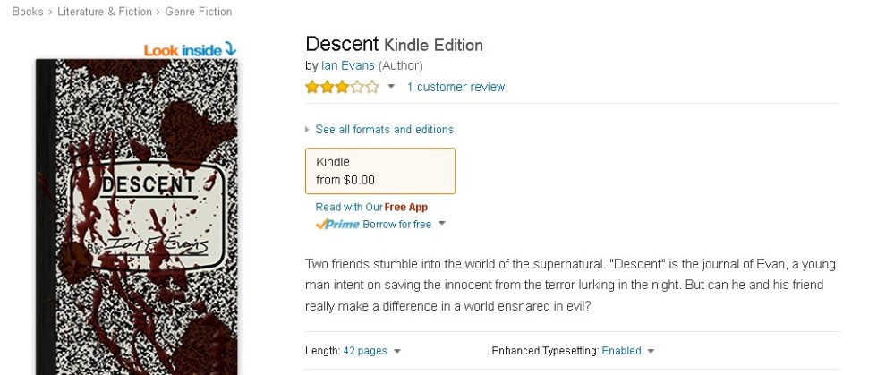 Free at Amazon  Descent Kindle Edition