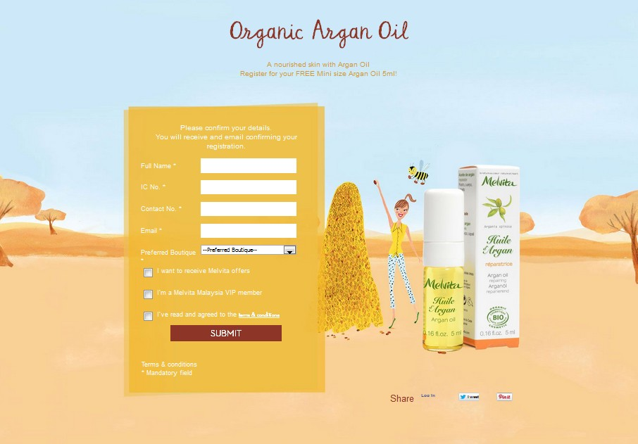 Register for your FREE Mini size Argan Oil 5ml at Melvita Malaysia