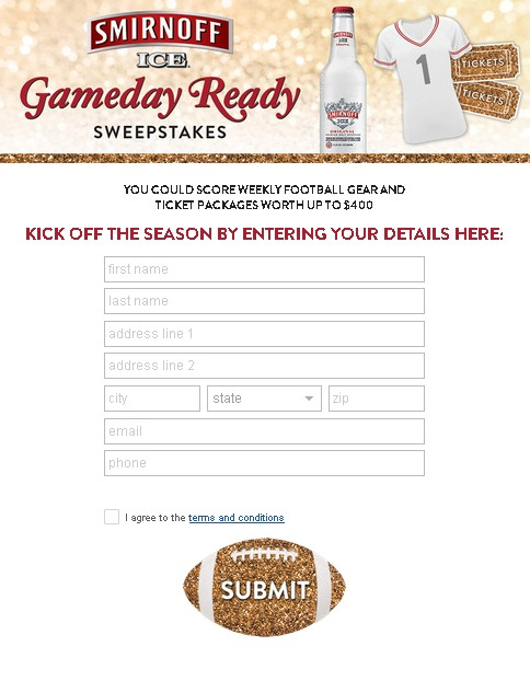 Smirnoff Ice Gameday Ready Sweepstakes 1