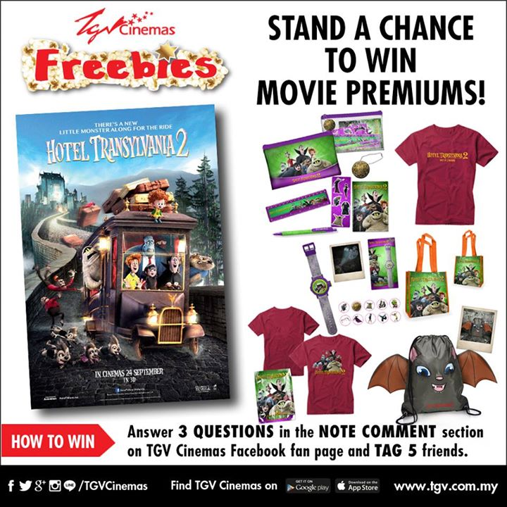 Win Hotel Transylvania 2 movie premiums at TGVCinemas Malaysia