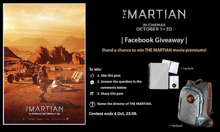 Win THE MARTIAN movie premium at Filmgarde Cineplex Singapore