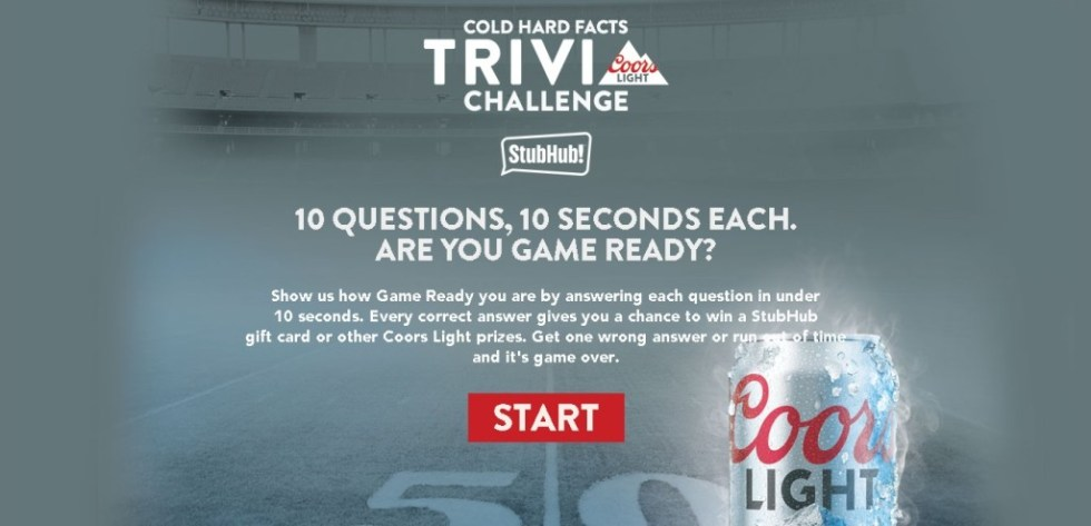 Win a StubHub gift card or other Coors Light prizes