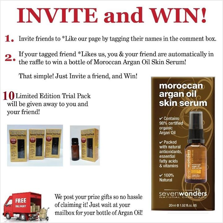 Win a bottle of Moroccan Argan Oil Serum at Moroccan Argan Oil Skin Serum by Seven Wonders