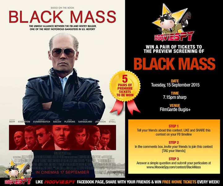 Win a pair of tickets to the preview screening of BLACK MASS at MoovieSpy Singapore
