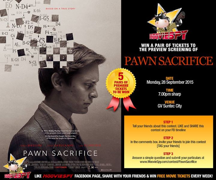 Win a pair of tickets to the preview screening of PAWN SACRIFICE