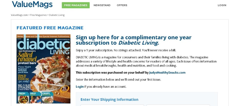 Complimentary one year subscription to Diabetic Living Magazine (2)