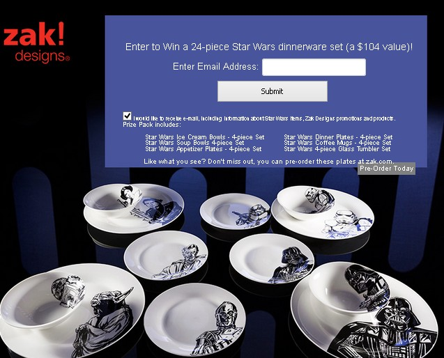 Enter to Win a 24-piece Star Wars dinnerware set at Zak Designs