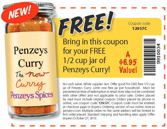 FREE 12 cup jar of Penzeys Curry