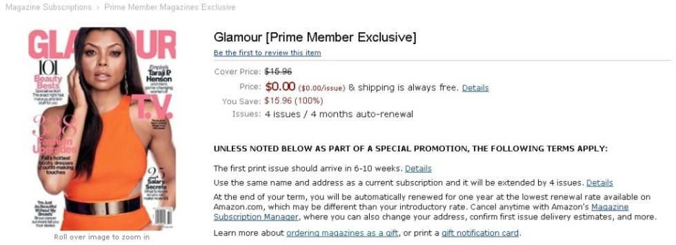 FREE Glamour [Prime Member Exclusive] at Amazon