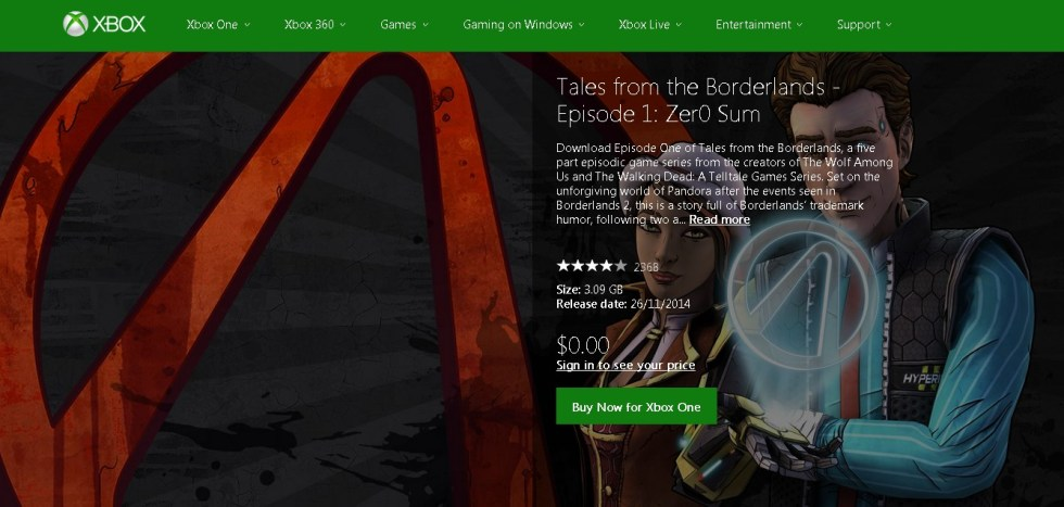 FREE Tales from the Borderlands - Episode 1 Zer0 Sum at XBOX